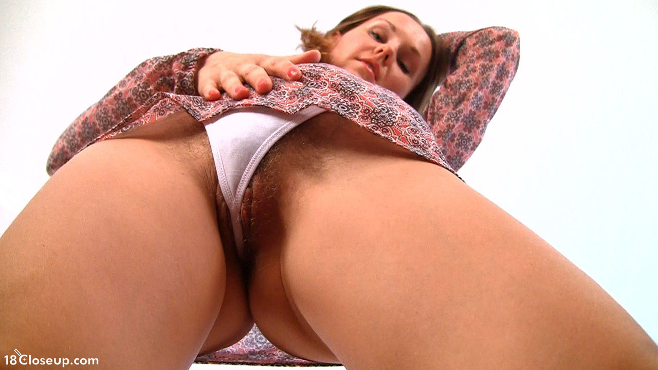 Upskirt panties close up hairy pussy